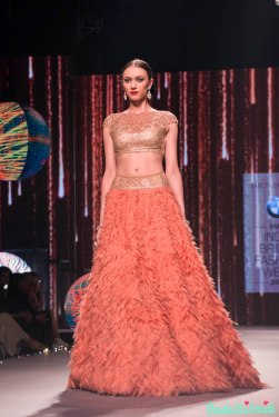 Coral Lehenga with Gold Swarovski embellished Blouse - Tarun Tahiliani - BMW India Bridal Fashion Week 2015