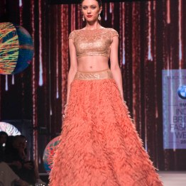 Coral Lehenga with Gold Swarovski embellished Blouse - Tarun Tahiliani - BMW India Bridal Fashion Week 2015