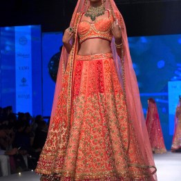 Coral & orange Lehenga with Zardozi Work _ Blush Pink Dupatta - Tarun Tahiliani - BMW India Bridal Fashion Week 2015
