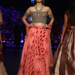 Coral Pink Lehenga with Red Motifs and Off Shoulder Silver Heavy Sequin Top - Manish Malhotra - Amazon India Couture Week 2015