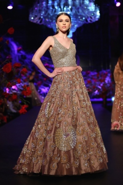 Dusty Pink Lehenga with Heavy Work & Metallic Silver Blouse - Manish Malhotra - Amazon India Couture Week 2015