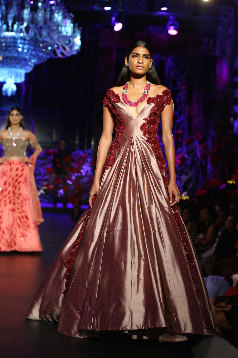 Dusty Rose Pink Ball Gown with 3D Floral Embroidery – Manish ...