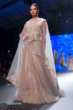 Embroidered Lehenga with floral motif Dupatta - Tarun Tahiliani - BMW India Bridal Fashion Week 2015