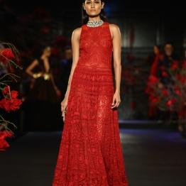 Embroidered Red Full Length Dress - Manish Malhotra - Amazon India Couture Week 2015