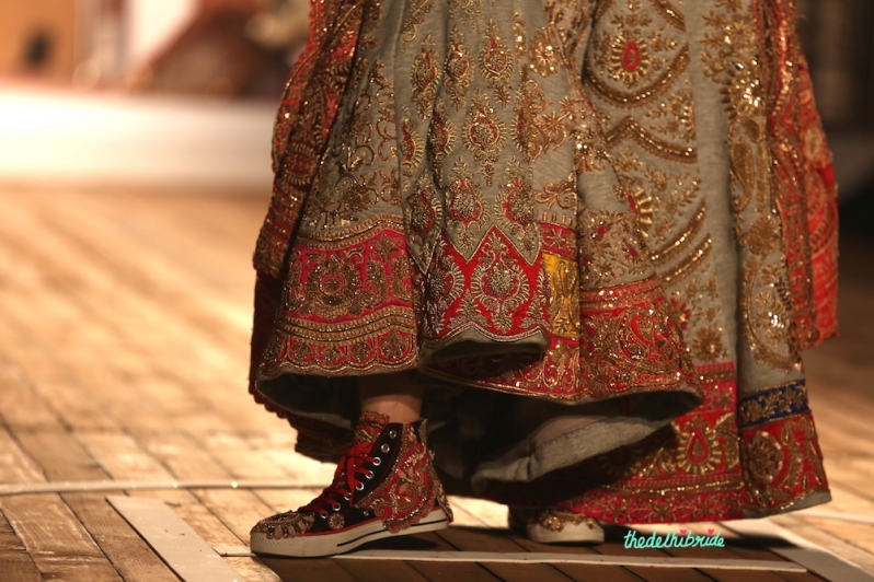 Embroidered sneakers with heavily embroidered zardosi work on jersey lehenga for new age bride at Kriti Sanon Monisha Jaising Amazon India Couture Week 2015 pic1