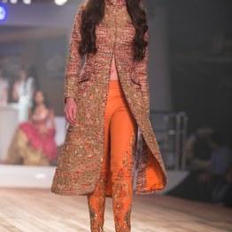 English Tweed jacket with Zardozi work and Embroidered Zardozi Cigarette Pants 1 - Monisha Jaising - Amazon India Couture Week 2015