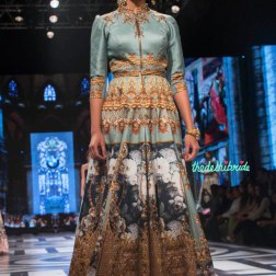 Falguni and Shane Peackcock - Ice Blue Gown with Digital Baroque Print - a vintage French style print - BMW India Bridal Fashion Week 2015