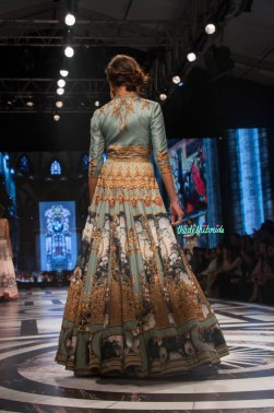 Falguni and Shane Peackcock - Ice Blue Gown with Digital Baroque Print Back - BMW India Bridal Fashion Week 2015