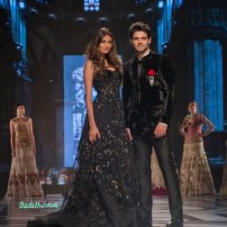Falguni and Shane Peacock - Athiya Shetty in Black Sequin Gown and Sooraj Pancholi in Black Velvet Bandhgala - BMW India Bridal Fashion Week 2015
