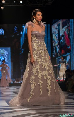 Falguni and Shane Peacock - Dull Lilac Gown with Baroque Applique - BMW India Bridal Fashion Week 2015