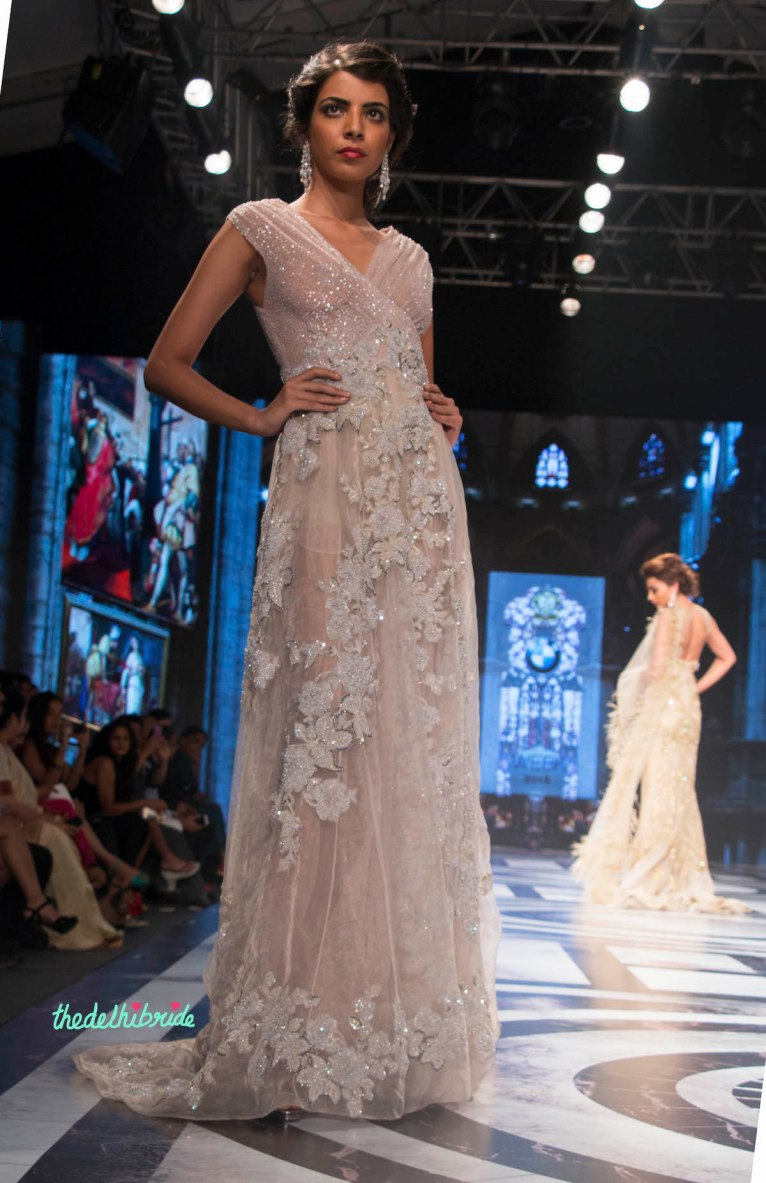 Falguni and Shane Peacock - Dull Lilac Gown with Floral Applique work and sparkling top - BMW India Bridal Fashion Week 2015