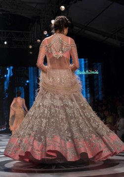 Falguni and Shane Peacock - Dull Lilac lehenga with light pink border and silver applique work - BMW India Bridal Fashion Week 2015 back