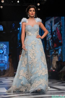 Falguni and Shane Peacock - Ice Blue Gown with Floral Applique Work - BMW India Bridal Fashion Week 2015
