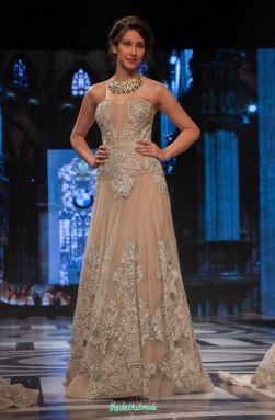 Falguni and Shane Peacock - Tanned Beige Gown with Baroque Applique Work - BMW India Bridal Fashion Week 2015