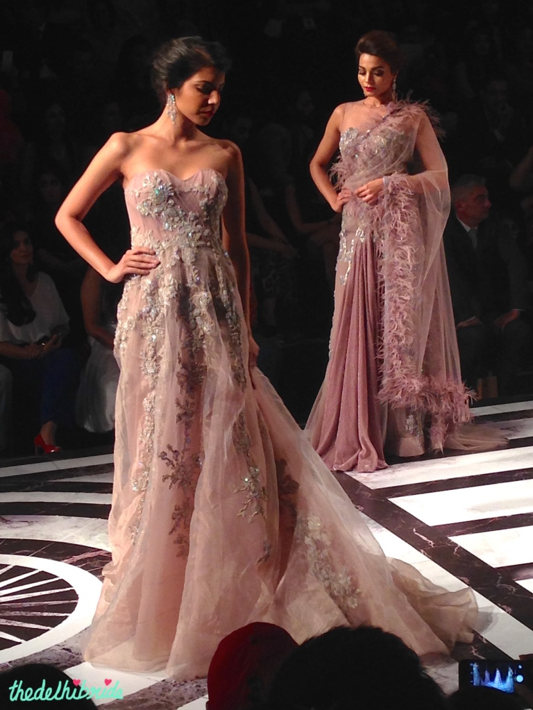 Falguni & Shane Peacock - Pale Pink Organza Gown with Floral Applique Side - BMW India Bridal Fashion Week 2015.jpg