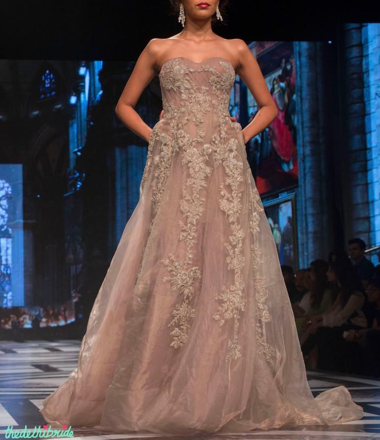 Falguni & Shane Peacock - Pastel Purple Organza Gown with Floral Applique - BMW India Bridal Fashion Week 2015