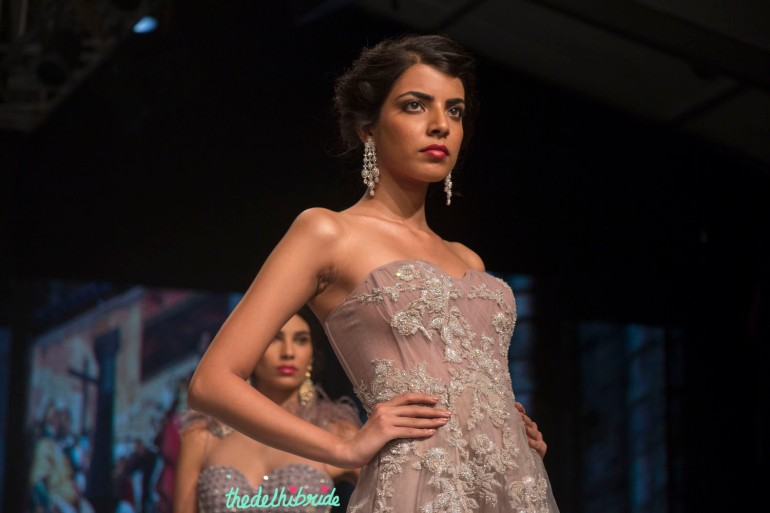 Falguni & Shane Peacock - Pastel Purple Organza Gown with Floral Applique Details - BMW India Bridal Fashion Week 2015