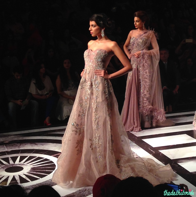 Falguni & Shane Peacock - Pastel Purple Organza Gown with Floral Applique Front - BMW India Bridal Fashion Week 2015