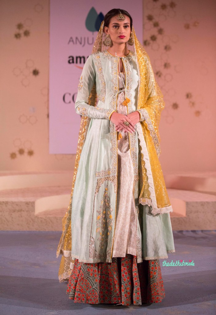 Floral Print Lehenga, Yellow Foil Print Dupatta & Pale Blue Jacket 1 - Anju Modi - Amazon India Couture Week 2015