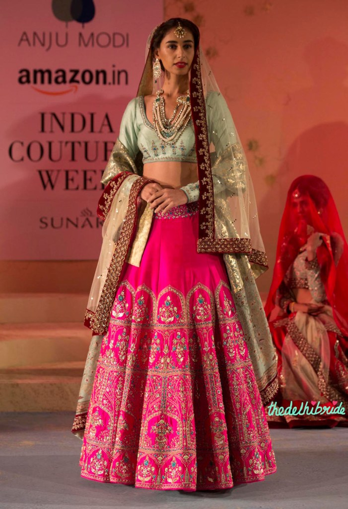 Fuchsia Pink Embroidered Lehenga , Pale Blue Blouse & Sitara Work Dupatta with a Velvet Border - Anju Modi - Amazon India Couture Week 2015