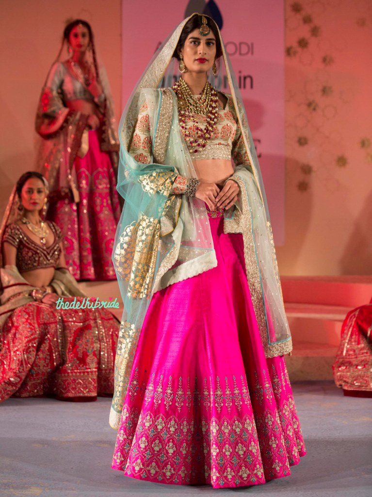 Fuchsia Pink Lehenga, Floral Pale Blue Blouse with Sitara Work and Pale Blue Foil Print Dupatta - Anju Modi - Amazon India Couture Week 2015