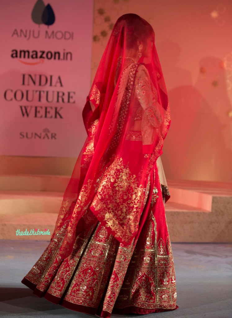 Fuchsia Pink Lehenga with Heavy Embroidery & Pink Dupatta with Foil Print - Anju Modi - Amazon India Couture Week 2015
