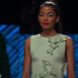 Gauri and Nainika - Pale Green Midi Dress with 3D Floral Applique Details - BMW India Bridal Fashion Week 2015