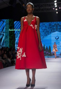 Gauri and Nainika - Red Empire Waist Midi Dress with White 3D Floral Details - BMW India Bridal Fashion Week 2015