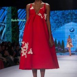 Gauri and Nainika - Red Empire Waist Midi Dress with White 3D Floral Details - BMW India Bridal Fashion Week 2015
