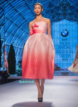 Gauri and Nainika - Shaded Pink and Coral Midi Dress with 3D Floral Details - BMW India Bridal Fashion Week 2015