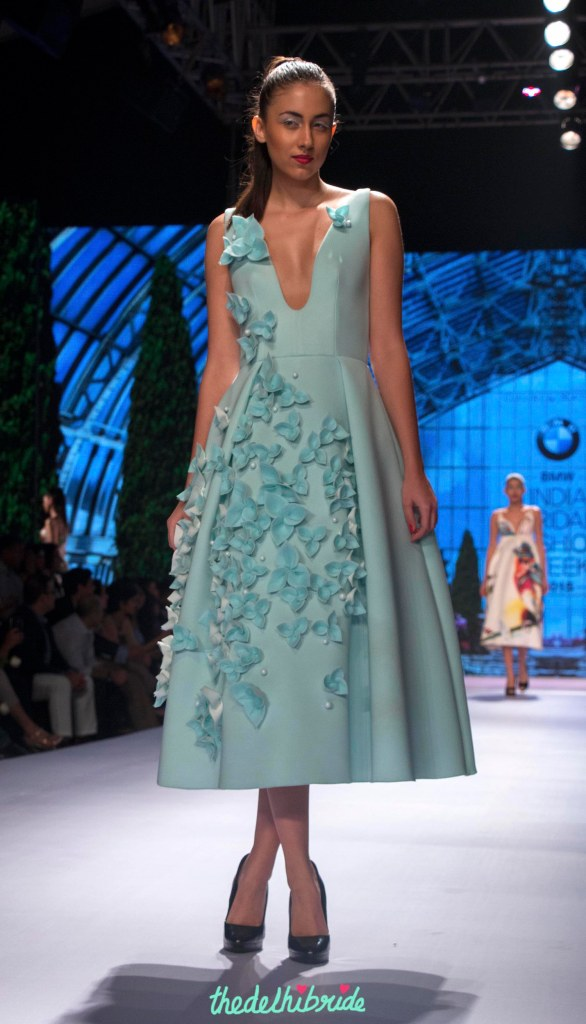 Gauri and Nainika - Sky Blue Midi Dress with 3D Floral Applique Front - BMW India Bridal Fashion Week 2015