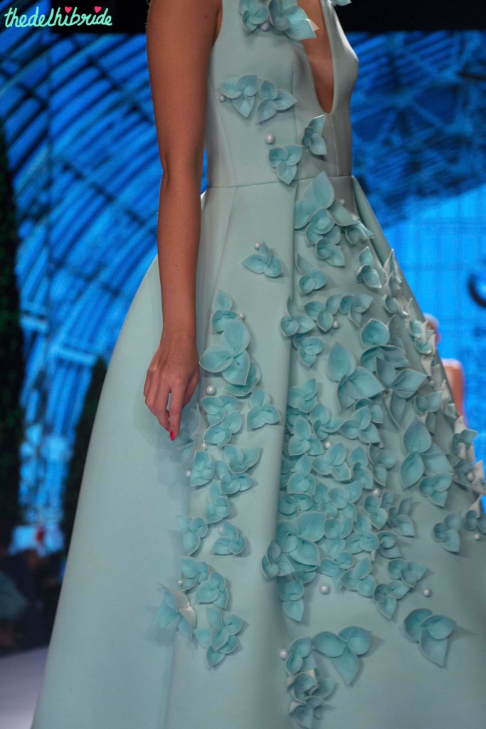 Gauri and Nainika - Sky Blue Midi Dress with 3D Floral Applique Side - BMW India Bridal Fashion Week 2015