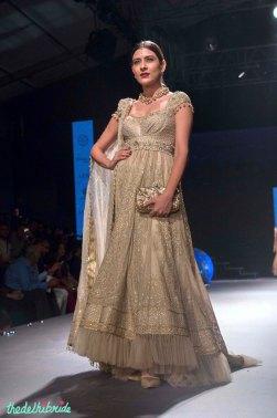 Gold Anarkali with Swarovski embelishments and Tulle ends - Tarun Tahiliani - BMW India Bridal Fashion Week 2015