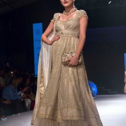 Gold Anarkali with Swarovski embelishments and Tulle ends - Tarun Tahiliani - BMW India Bridal Fashion Week 2015