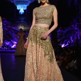 Gold Crop Top with Heavy Work & Beige Lehenga with Gold Floral Work - Manish Malhotra - Amazon India Couture Week 2015