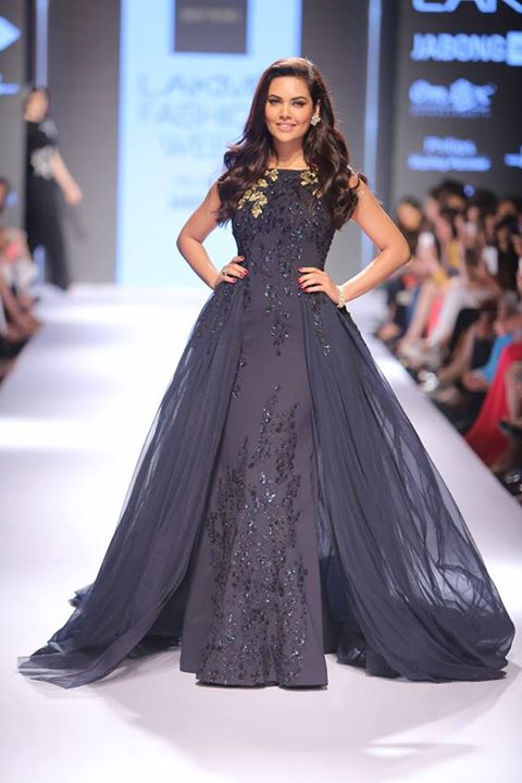 Gown - Heavily embroidered navy blue gown - Esha Gupta - Ridhi Mehra - Lakme Fashion Week Winter-Festive 2015