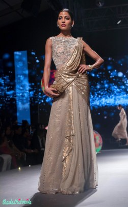 Grey Saree with Heavily Embellished Blouse & Shimmering Gold Drape - Tarun Tahiliani - BMW India Bridal Fashion Week 2015