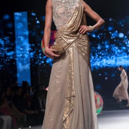 Grey Saree with Heavily Embellished Blouse & Shimmering Gold Drape - Tarun Tahiliani - BMW India Bridal Fashion Week 2015