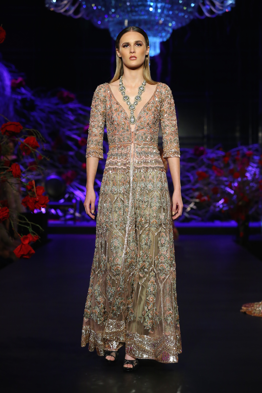 a2453242b1 Heavily embroidered long sheer jacket with Pants - Manish Malhotra - Amazon India  Couture Week 2015