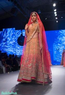 Heavy embrodiered shaded wedding lehenga in orange and red - Tarun Tahiliani - BMW India Bridal Fashion Week 2015