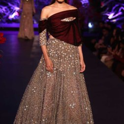 Heavy Sequin Metallic Gown with Off-Shoulder Burgundy Jacket - Manish Malhotra - Amazon India Couture Week 2015
