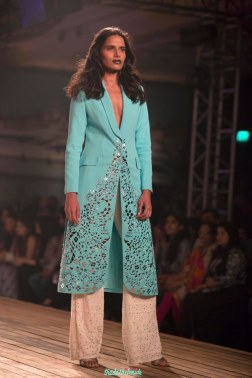 Ice Blue Lazer Cut Trench Jacket with white Flare Pants - Monisha Jaising - Amazon India Couture Week 2015