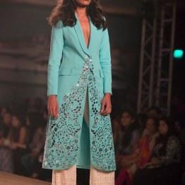Ice Blue Lazer Cut Trench Jacket with white Flare Pants - Monisha Jaising - Amazon India Couture Week 2015