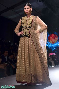 Ivory and Gold Anarkali with Black Velvet Jacket with Gold Dabka or Aari Work - Tarun Tahiliani - BMW India Bridal Fashion Week 2015