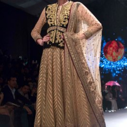 Ivory and Gold Anarkali with Black Velvet Jacket with Gold Dabka or Aari Work - Tarun Tahiliani - BMW India Bridal Fashion Week 2015