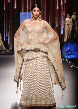 Ivory & Beige Chevron Pattern Lehenga with Fitted Chikankari Kurta - Tarun Tahiliani - BMW India Bridal Fashion Week 2015