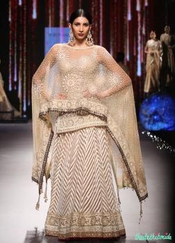 Ivory & Beige Chevron Pattern Lehenga with Fitted Chikankari Kurta - Tarun Tahiliani - BMW India Bridal Fashion Week 2015