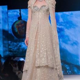 Ivory Jacket Lehenga & Silver Bikini Blouse with Swarovski Crystals - Tarun Tahiliani - BMW India Bridal Fashion Week 2015