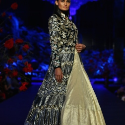 Ivory Lehenga _ Black Jacket with Gold and Silver Birds and Floral Motifs and Pale Blue Embroidered Motifs on Sleeves - Manish Malhotra - Amazon India Couture Week 2015