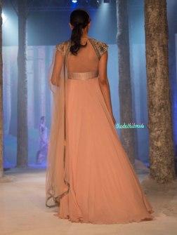 JJ Valaya - Peach Anarkali with Embroidered Yoke Back - BMW India Bridal Fashion Week 2015.jpg